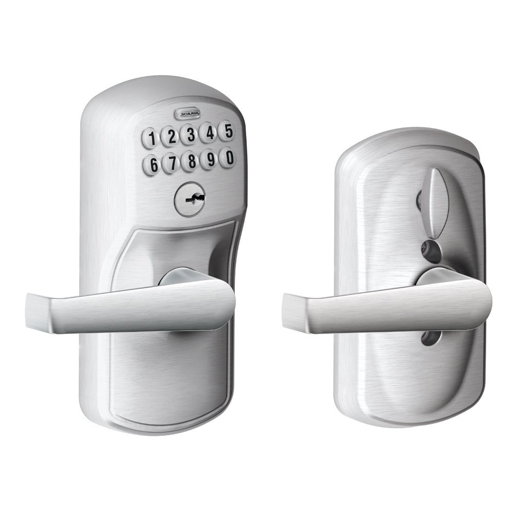 Schlage FE595 PLY 626 ELA Plymouth Keypad Entry with Flex-Lock and Elan Style Levers, Brushed Chrome