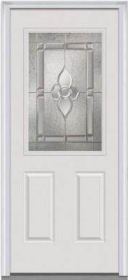 34 in. x 80 in. Master Nouveau Decorative Glass 1:2 Lite 2-Panel Primed White Steel Prehung Front Door