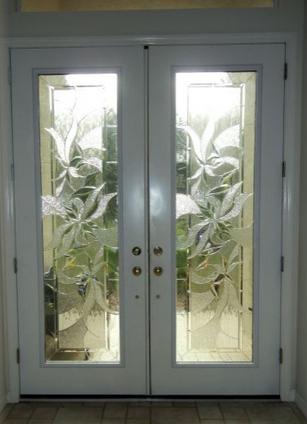 decorative glass exterior door
