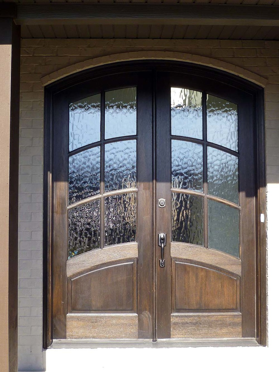 exterior door with water glass