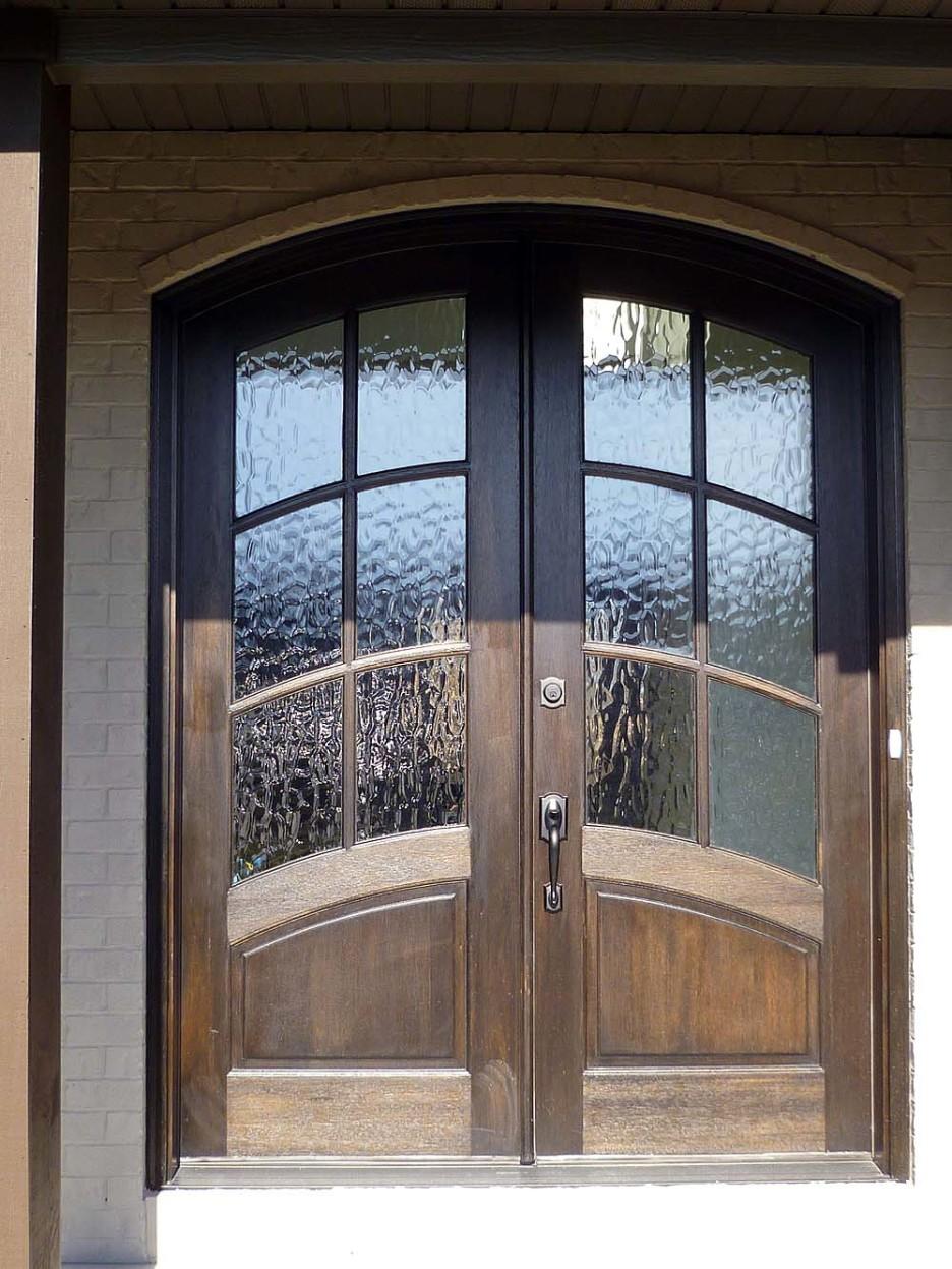 exterior door with water glass