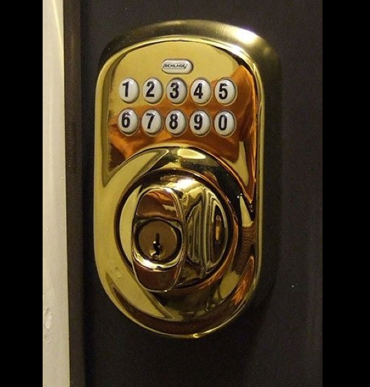 schlage plymouth deadbolt closeup bronze