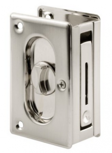 Prime-Line Products N 7367 Pocket Door Privacy Lock with Pull, 3-34-Inch, Satin Nickel