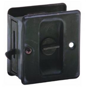 """Schlage 991 1-3:4"""" x 2-1:4"""" Privacy Pocket Artisan Sliding Door Lock, Aged Bronze"""