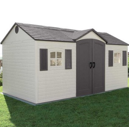 lifetime 6446 outdoor storage shed with shutters windows and skylights 8 by 15 - Garden Sheds With Windows