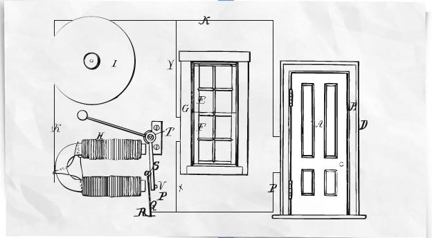 augustus pope's first burglar alarm prototype