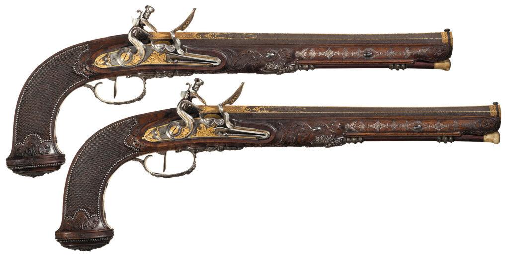 Boutet Parisian Flintlock Dueling Pistols