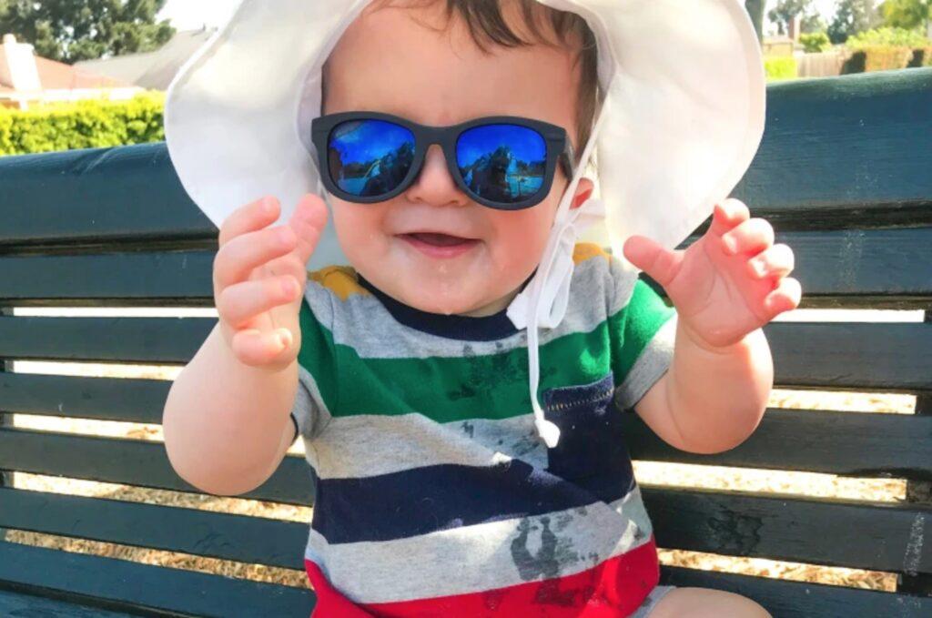 baby wearing shades